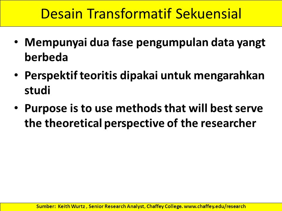 Disain Triangulasi Konkuren This is probably the most familiar MM design The QUAL and QUAN data collection are concurrent, and happen during one data collection phase Priority could be given to either QUAL or QUAN methods, but ideally the priority between the two methods would be equal Two methods are integrated in the interpretation phase The integration focuses on how the results from both methods are similar or different, with the primary purpose being to support each other Sumber: Keith Wurtz, Senior Research Analyst, Chaffey College.
