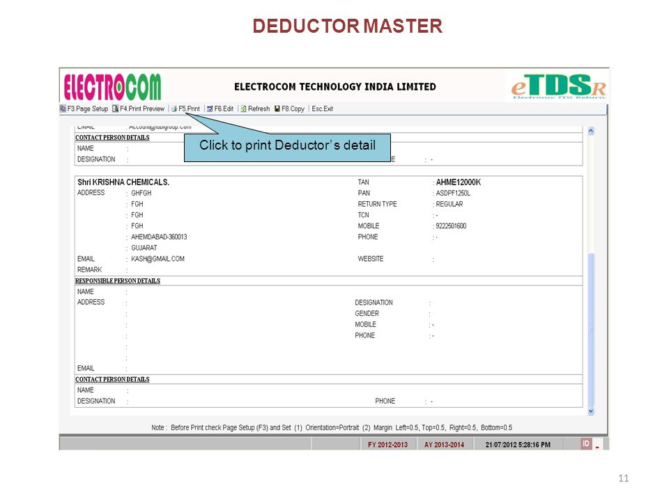 DEDUCTOR MASTER Click to print Deductor' s detail 11