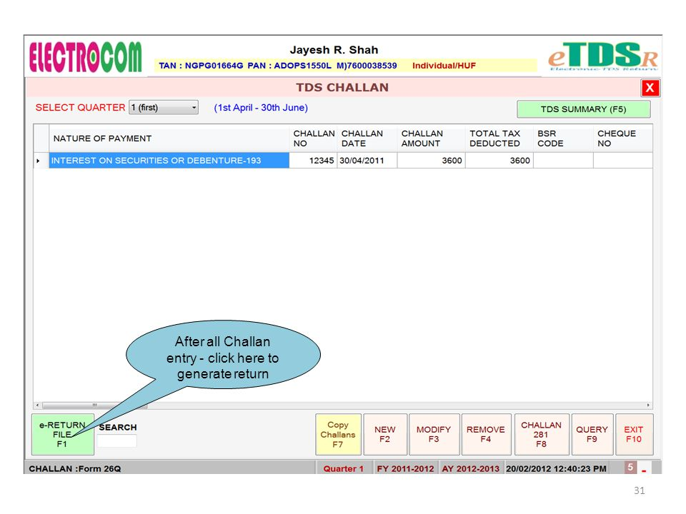 After all Challan entry - click here to generate return 31