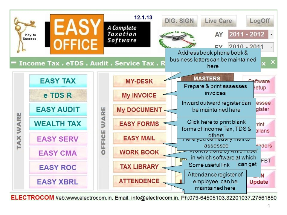 Work is done by which user in which software at which time all details you can get from here Address book phone book & business letters can be maintai