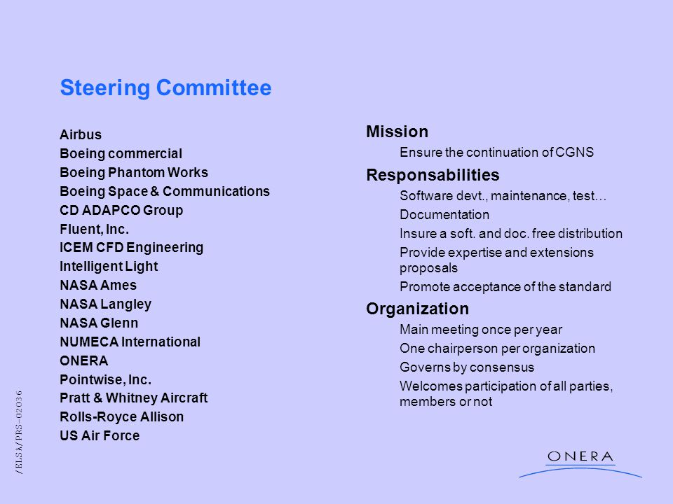 /ELSA/PRS-02036 Steering Committee Airbus Boeing commercial Boeing Phantom Works Boeing Space & Communications CD ADAPCO Group Fluent, Inc.