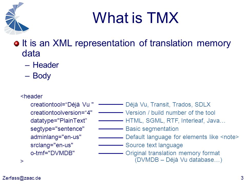 Zerfass@zaac.de3 What is TMX It is an XML representation of translation memory data –Header –Body <header creationtool= Déjà Vu creationtoolversion= 4 datatype= PlainText segtype= sentence adminlang= en-us srclang= en-us o-tmf= DVMDB > Déjà Vu, Transit, Trados, SDLX Version / build number of the tool HTML, SGML, RTF, Interleaf, Java… Basic segmentation Default language for elements like Source text language Original translation memory format (DVMDB – Déjà Vu database…)