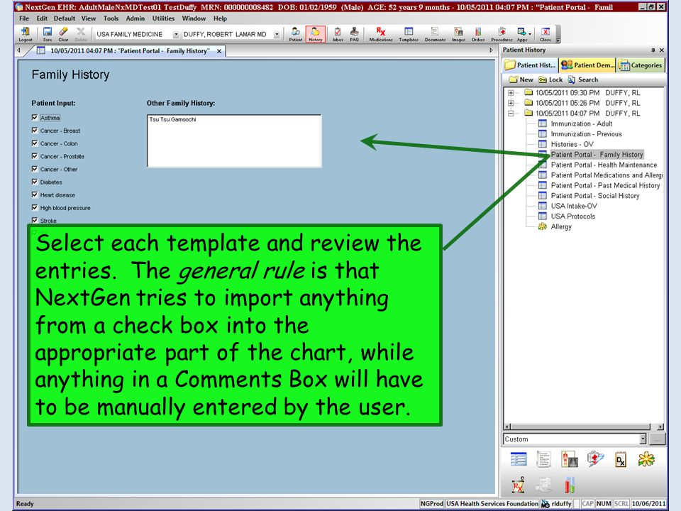 Select each template and review the entries. The general rule is that NextGen tries to import anything from a check box into the appropriate part of t
