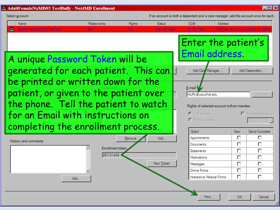 Click To, then Add Patient.