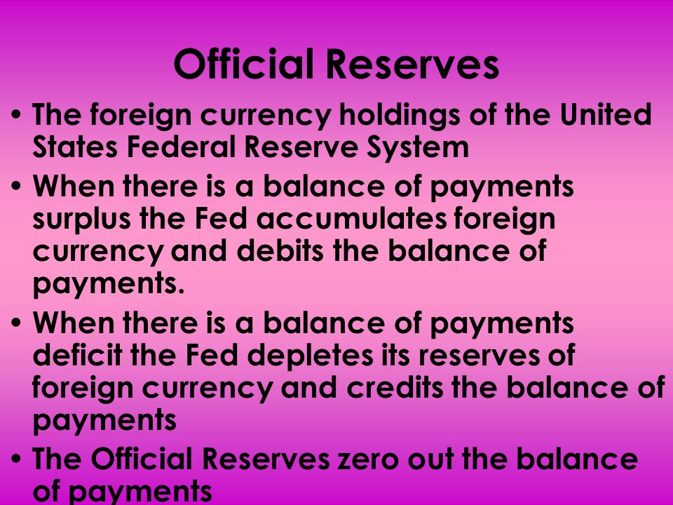 Official Reserves The foreign currency holdings of the United States Federal Reserve System When there is a balance of payments surplus the Fed accumu