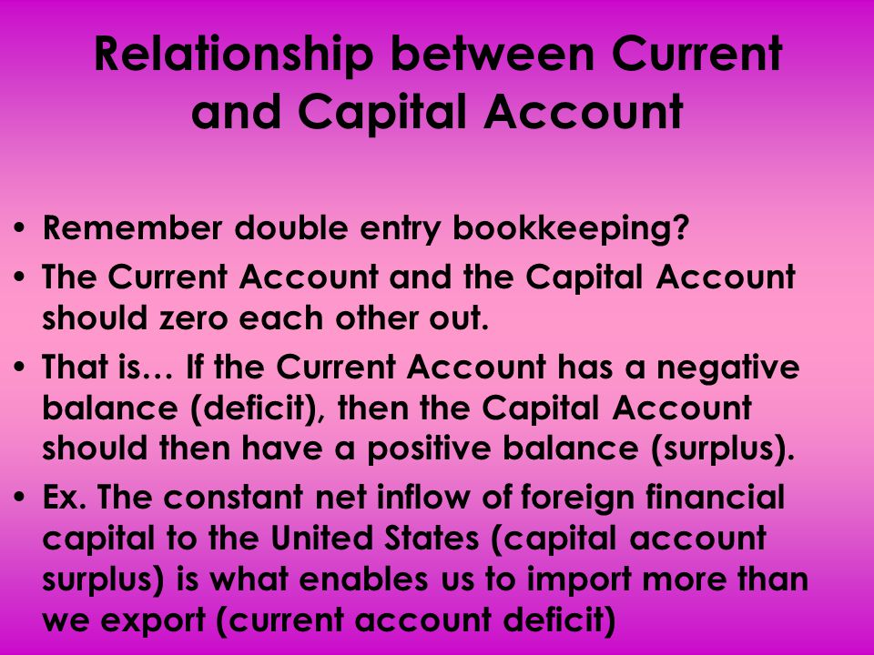 Relationship between Current and Capital Account Remember double entry bookkeeping? The Current Account and the Capital Account should zero each other