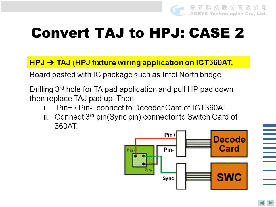 Convert TAJ to HPJ: CASE 2 HPJ  TAJ (HPJ fixture wiring application on ICT360AT.