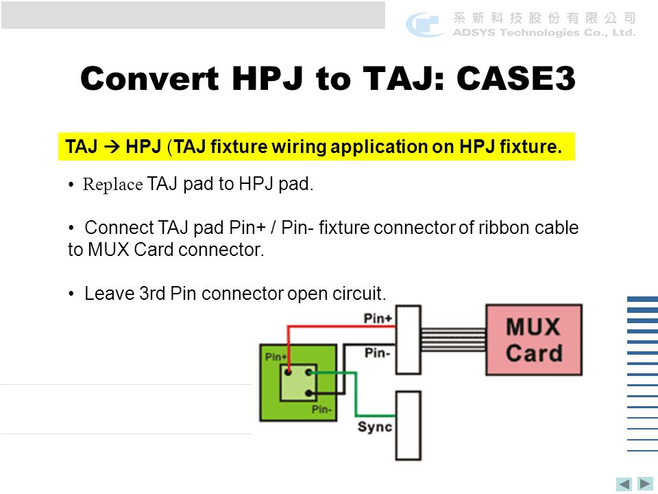 Convert HPJ to TAJ: CASE3 TAJ  HPJ (TAJ fixture wiring application on HPJ fixture.