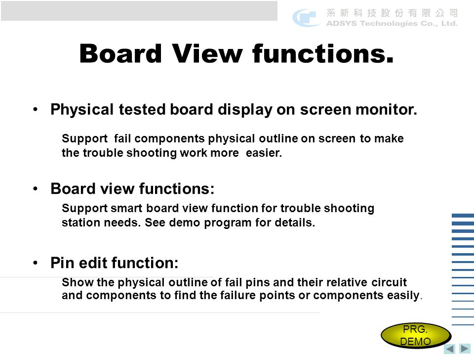 Board View functions. Physical tested board display on screen monitor.