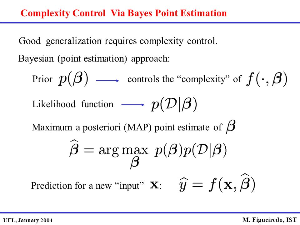 "UFL, January 2004 M. Figueiredo, IST Complexity Control Via Bayes Point Estimation Bayesian (point estimation) approach: Priorcontrols the ""complexity"