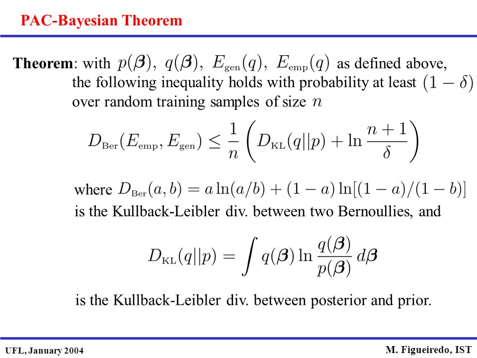 UFL, January 2004 M. Figueiredo, IST PAC-Bayesian Theorem Theorem: with as defined above, the following inequality holds with probability at least ove