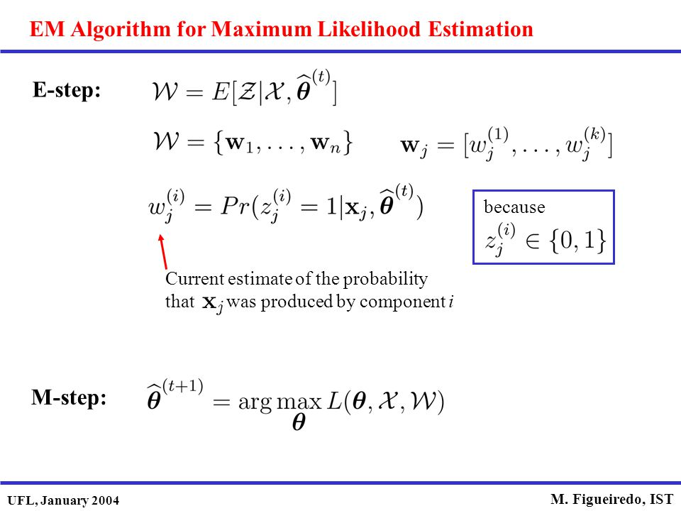 UFL, January 2004 M. Figueiredo, IST EM Algorithm for Maximum Likelihood Estimation E-step: Current estimate of the probability that was produced by c