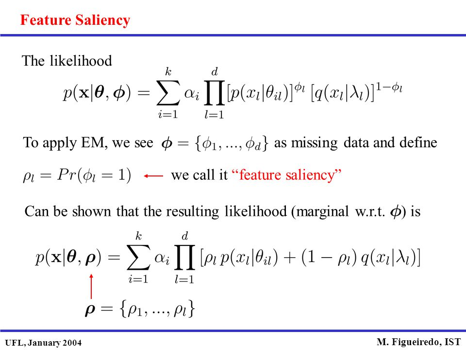 "UFL, January 2004 M. Figueiredo, IST The likelihood To apply EM, we see as missing data and define we call it ""feature saliency"" Feature Saliency Can"