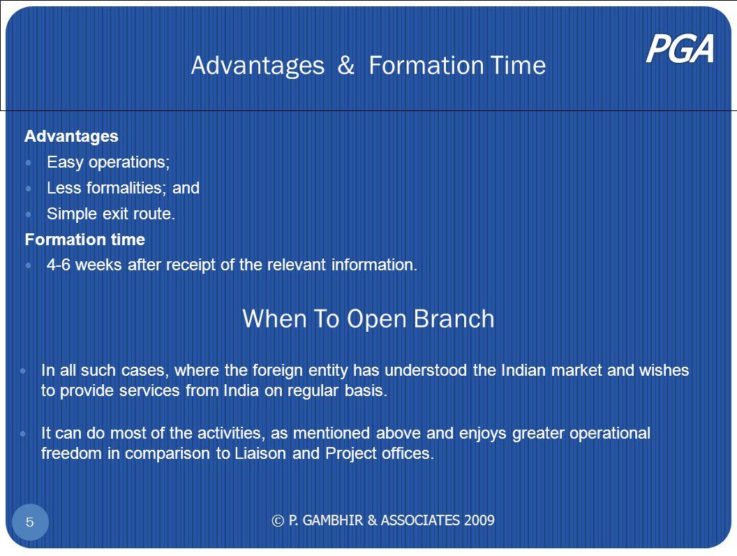 Advantages & Formation Time © P.