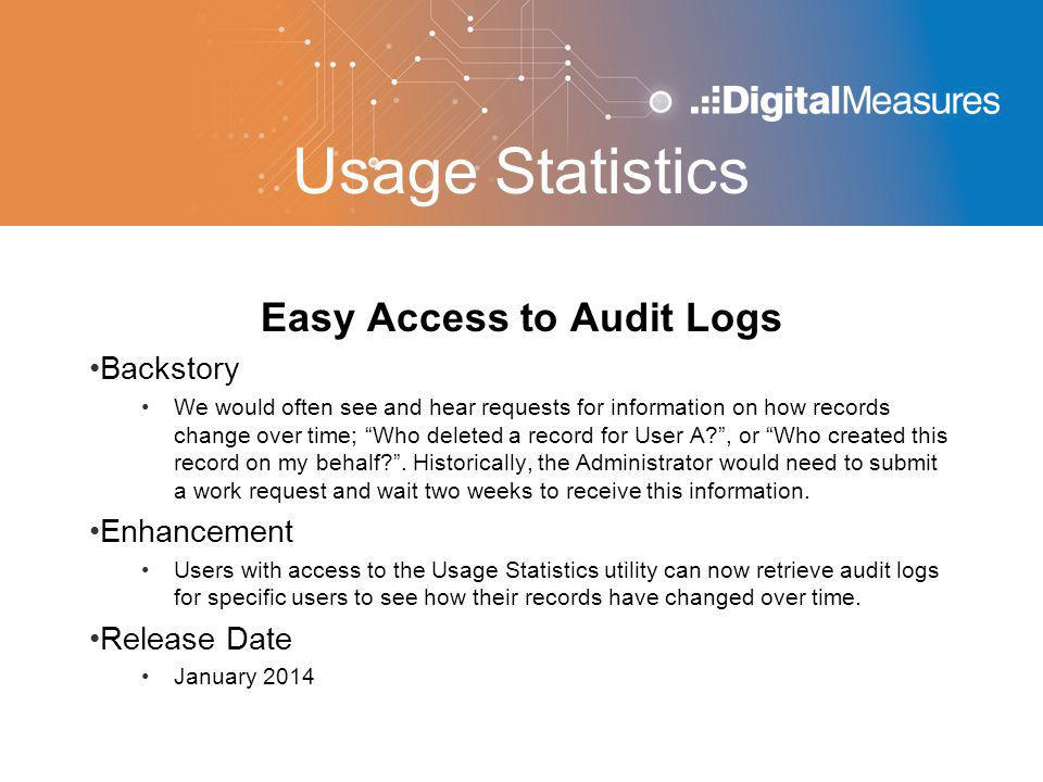 Usage Statistics Easy Access to Audit Logs Backstory We would often see and hear requests for information on how records change over time; Who deleted a record for User A , or Who created this record on my behalf .