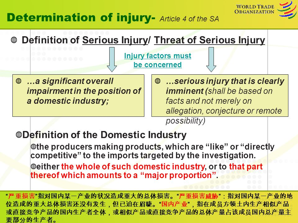 Determination of injury- Article 4 of the SA Definition of Serious Injury/ Threat of Serious Injury …serious injury that is clearly imminent (shall be