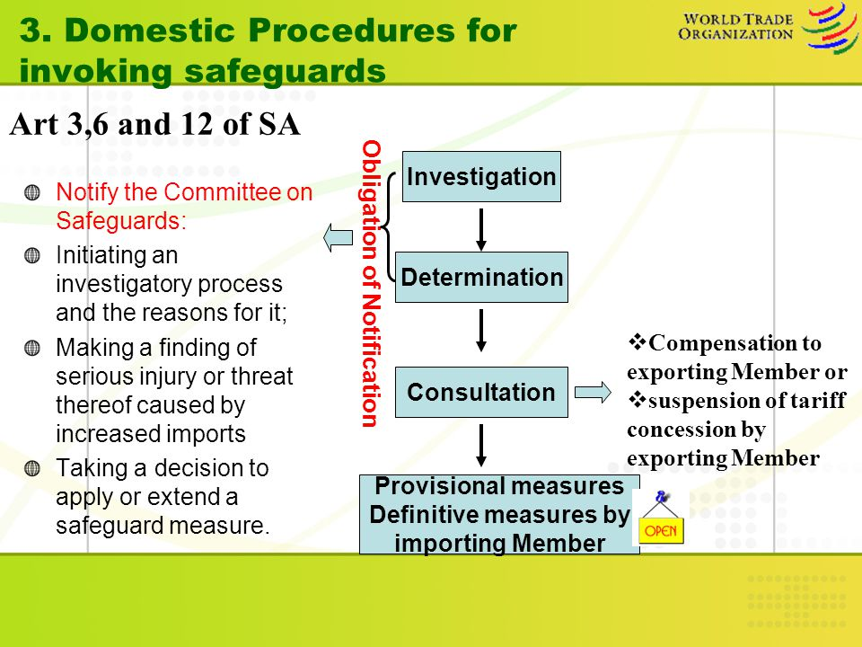 3. Domestic Procedures forinvoking safeguards Art 3,6 and 12 of SA Investigation Determination Consultation Notify the Committee on Safeguards: Initia