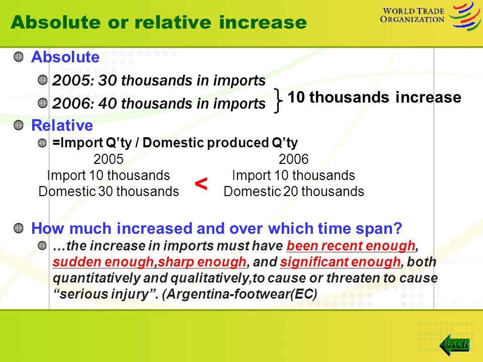 Absolute or relative increase Absolute 2005: 30 thousands in imports 2006: 40 thousands in imports Relative =Import Q'ty / Domestic produced Q'ty How