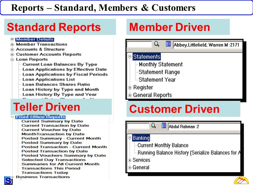 Reports – Standard, Members & Customers Member Driven Customer Driven Teller Driven Standard Reports