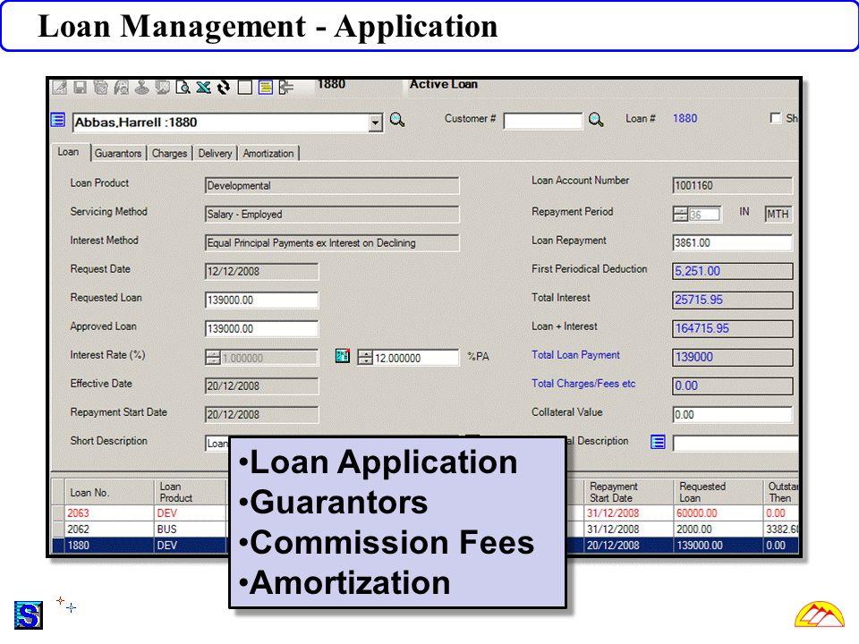 Loan Management - Application Loan Application Guarantors Commission Fees Amortization Loan Application Guarantors Commission Fees Amortization