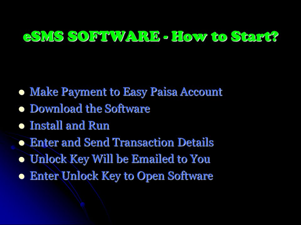 eSMS SOFTWARE - How to Start.
