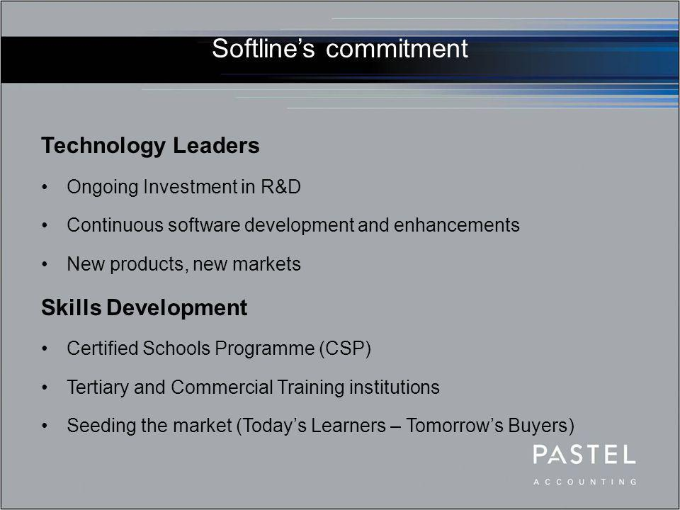 Softline's commitment Technology Leaders Ongoing Investment in R&D Continuous software development and enhancements New products, new markets Skills D