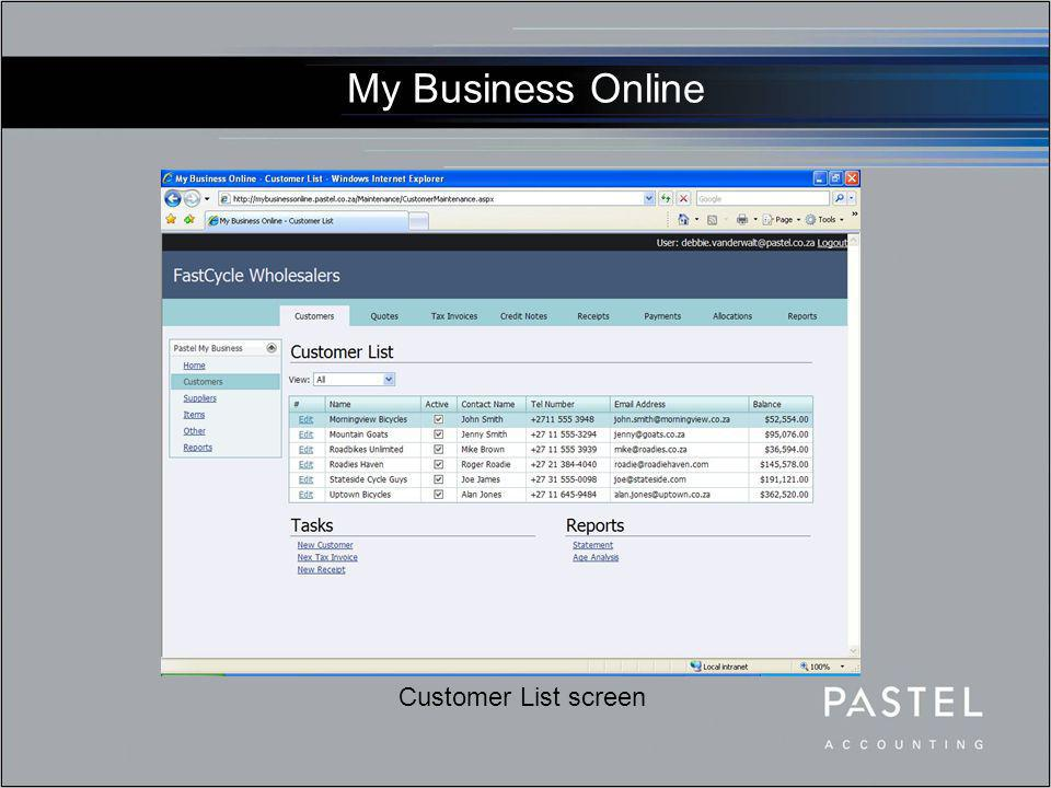 My Business Online Edit Customer screen