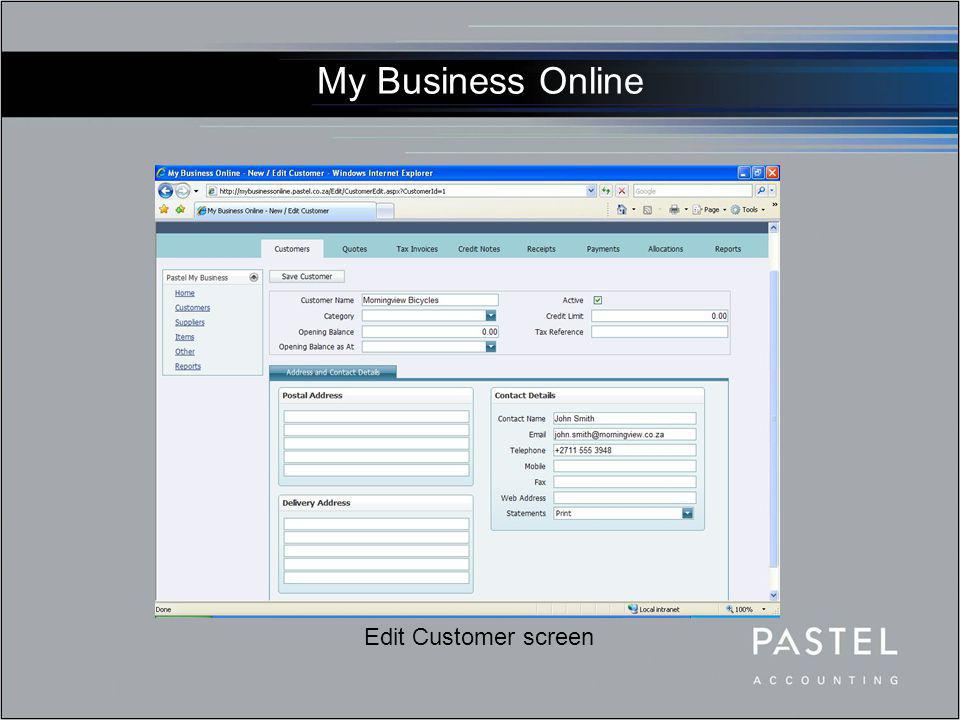 My Business Online New Invoice screen