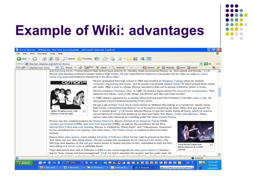 Example of Wiki: advantages
