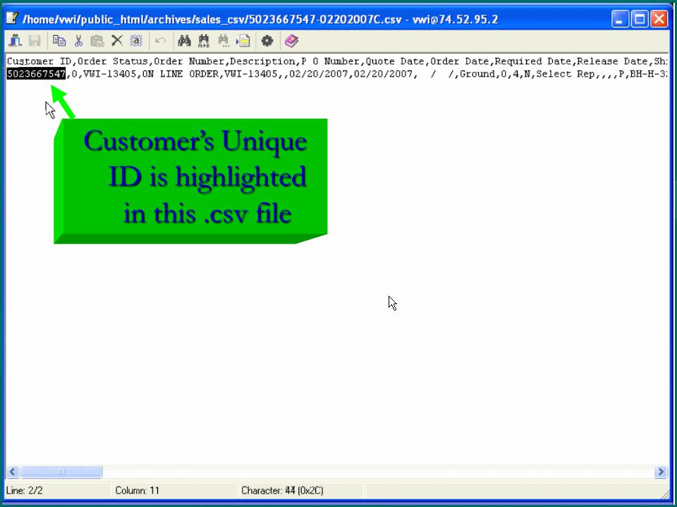 Customer's Unique ID is highlighted in this.csv file