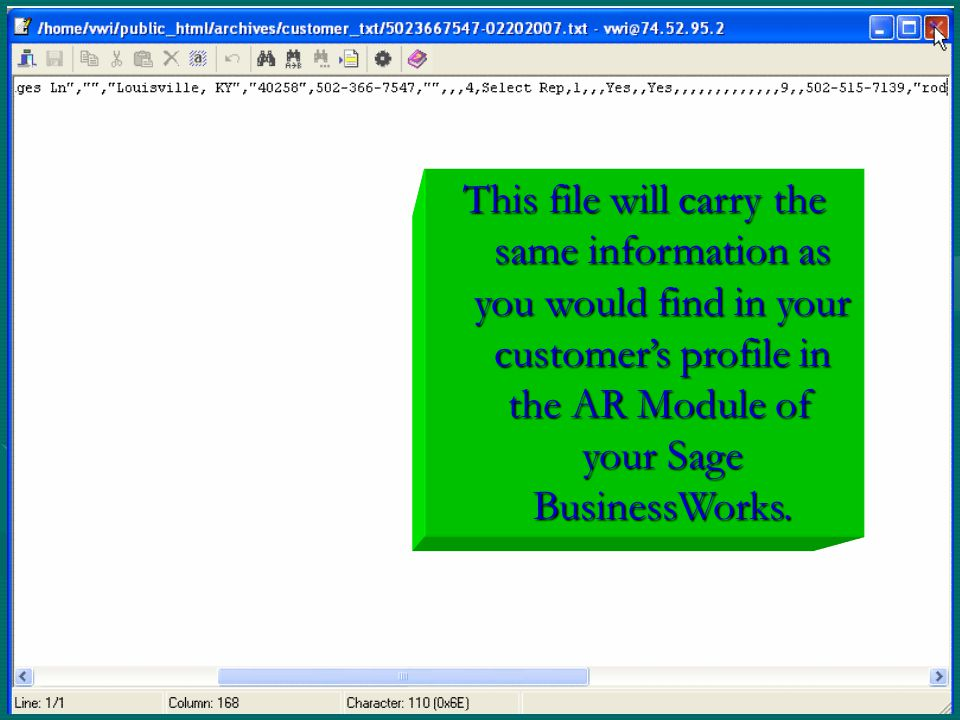 This file will carry the same information as you would find in your customer's profile in the AR Module of your Sage BusinessWorks.