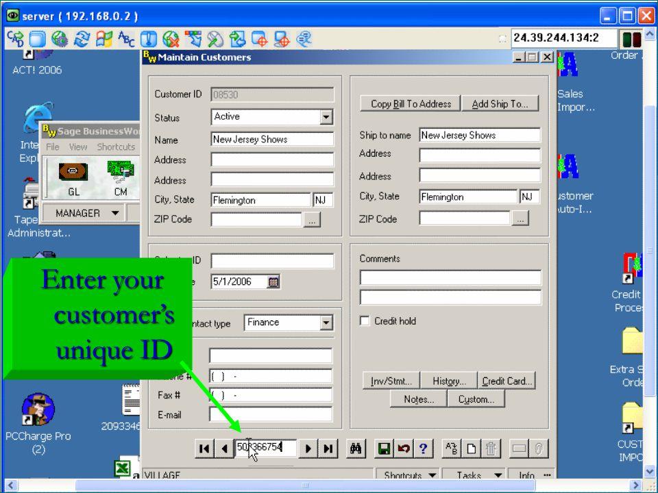 Enter your customer's unique ID