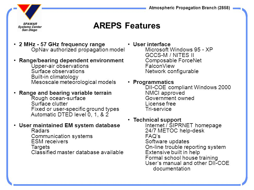 Atmospheric Propagation Branch (2858) Common Operating Picture Various AREPS implementations GCCS-M NITES-II Pocket-PC Personal -PC FalconView Composable ForceNet (Current Installs) CTF-74 CTF-72 CTF-72.2 USS Blue Ridge