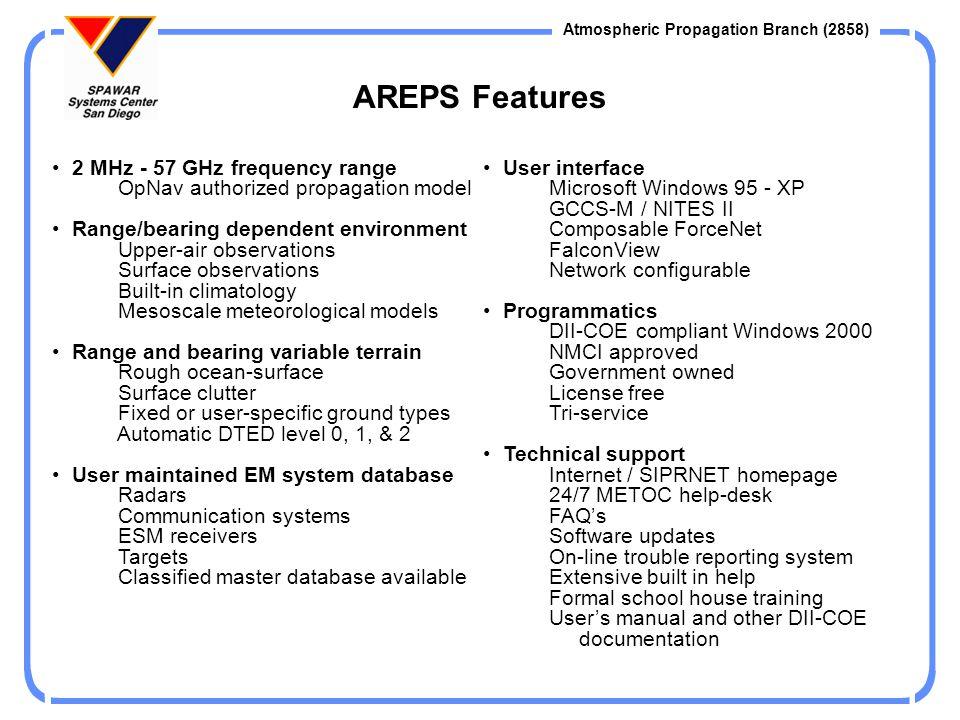 Atmospheric Propagation Branch (2858) AREPS On-line Help Opportunities Internet: http://mskc.spawar.navy.mil E-mail Internet: areps@spawar.navy.mil Homepages Internet: http://sunspot.spawar.navy.mil