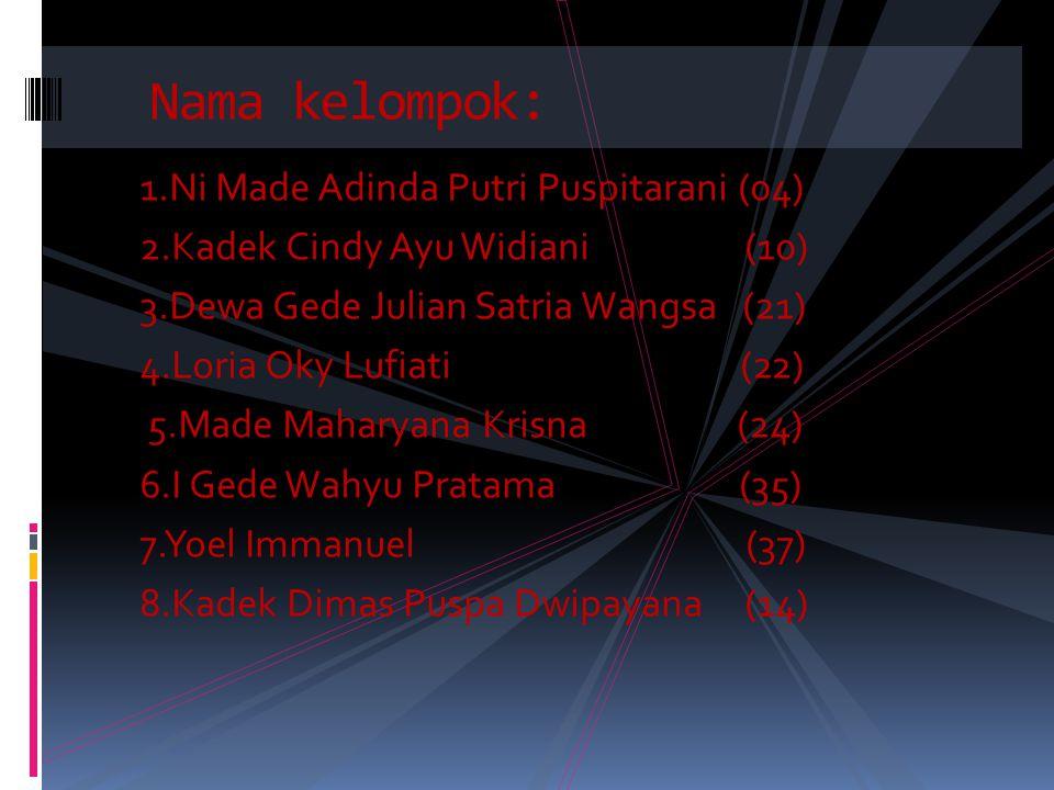 1.Ni Made Adinda Putri Puspitarani (04) 2.Kadek Cindy Ayu Widiani (10) 3.Dewa Gede Julian Satria Wangsa (21) 4.Loria Oky Lufiati (22) 5.Made Maharyana Krisna (24) 6.I Gede Wahyu Pratama (35) 7.Yoel Immanuel (37) 8.Kadek Dimas Puspa Dwipayana (14) Nama kelompok: