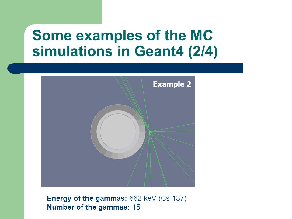 Some examples of the MC simulations in Geant4 (2/4) Energy of the gammas: 662 keV (Cs-137) Number of the gammas: 15 Example 2