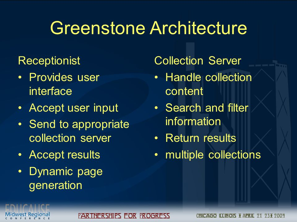 Greenstone Architecture Receptionist Provides user interface Accept user input Send to appropriate collection server Accept results Dynamic page gener