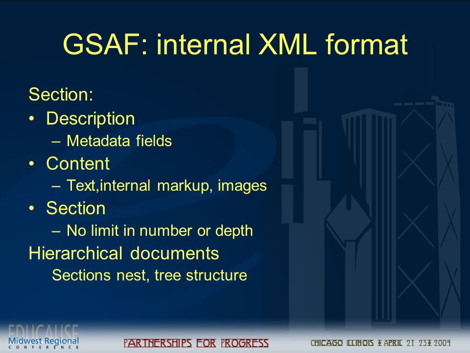 GSAF: internal XML format Section: Description –Metadata fields Content –Text,internal markup, images Section –No limit in number or depth Hierarchica