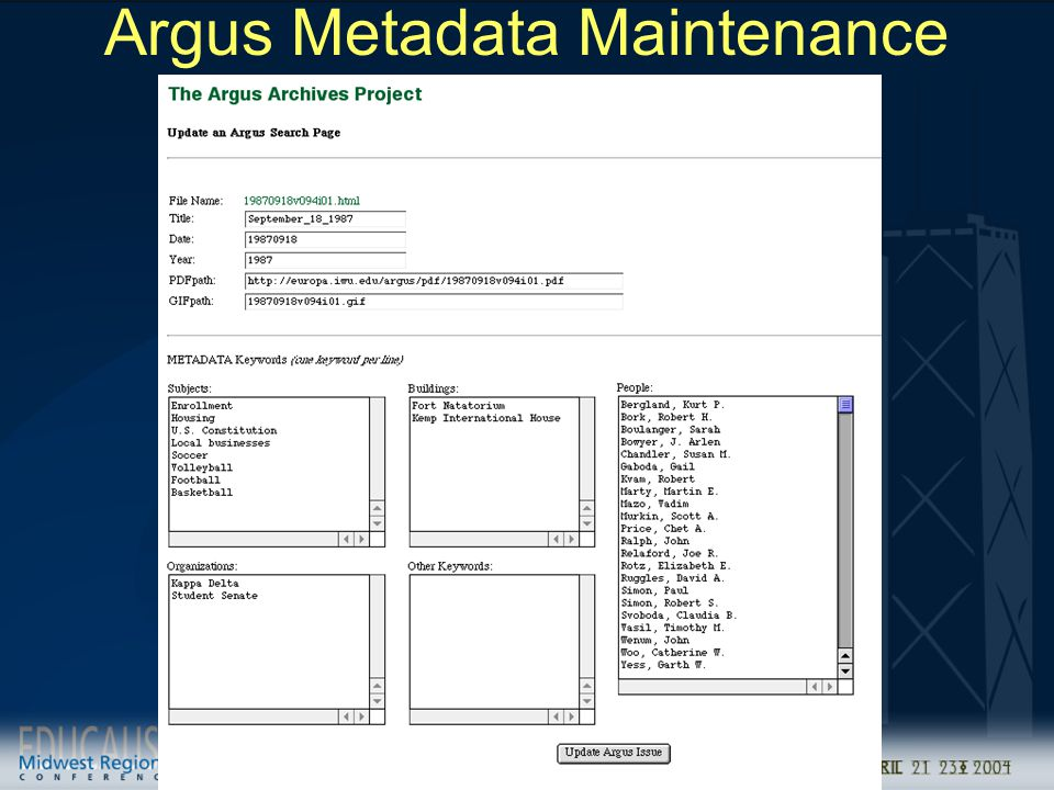 Argus Metadata Maintenance