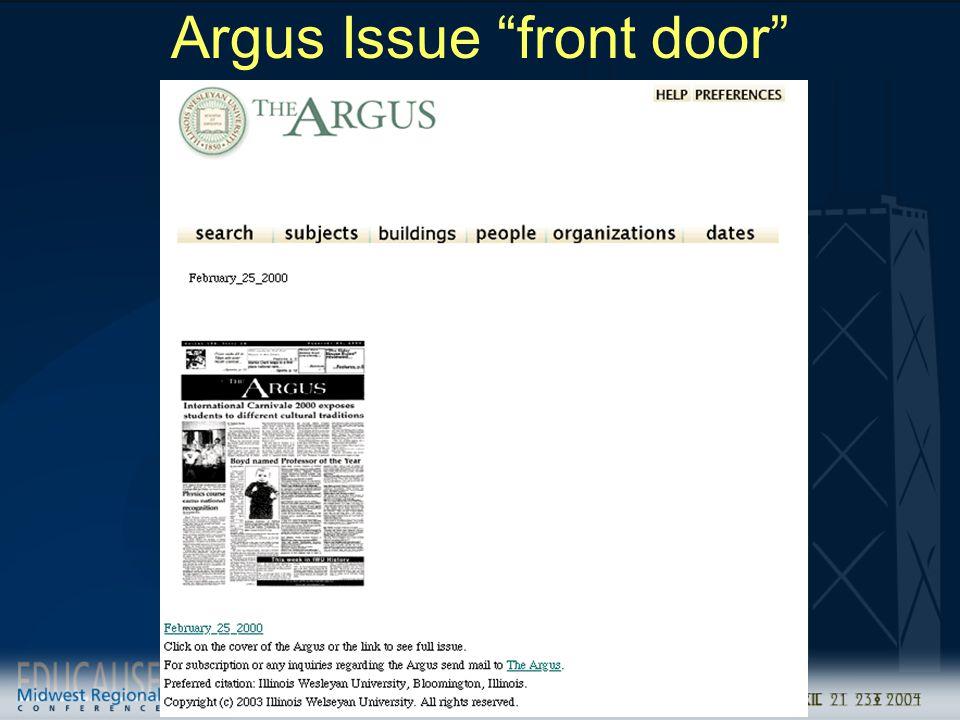 """Argus Issue """"front door"""""""