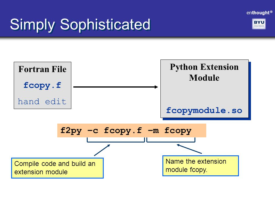 enthought ® Simply Sophisticated Fortran File fcopy.f hand edit Python Extension Module fcopymodule.so Python Extension Module fcopymodule.so f2py –c