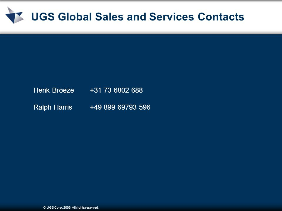 © UGS Corp. 2006. All rights reserved. UGS Global Sales and Services Contacts Henk Broeze+31 73 6802 688 Ralph Harris+49 899 69793 596