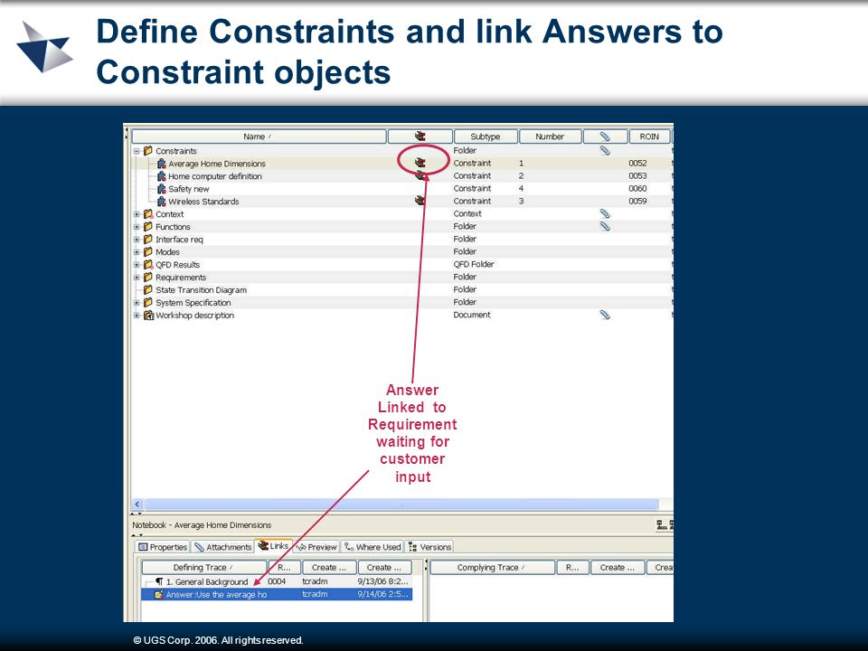 © UGS Corp. 2006. All rights reserved. Define Constraints and link Answers to Constraint objects Answer Linked to Requirement waiting for customer inp