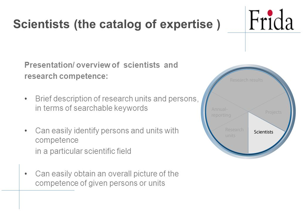 Scientists (the catalog of expertise ) Presentation/ overview of scientists and research competence: Brief description of research units and persons, in terms of searchable keywords Can easily identify persons and units with competence in a particular scientific field Can easily obtain an overall picture of the competence of given persons or units