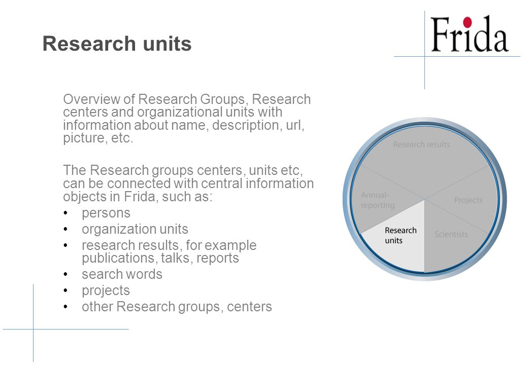 Research units Overview of Research Groups, Research centers and organizational units with information about name, description, url, picture, etc.