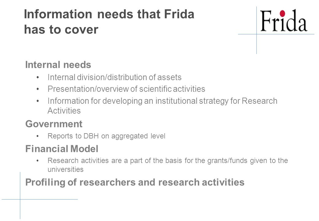 Information needs that Frida has to cover Internal needs Internal division/distribution of assets Presentation/overview of scientific activities Information for developing an institutional strategy for Research Activities Government Reports to DBH on aggregated level Financial Model Research activities are a part of the basis for the grants/funds given to the universities Profiling of researchers and research activities