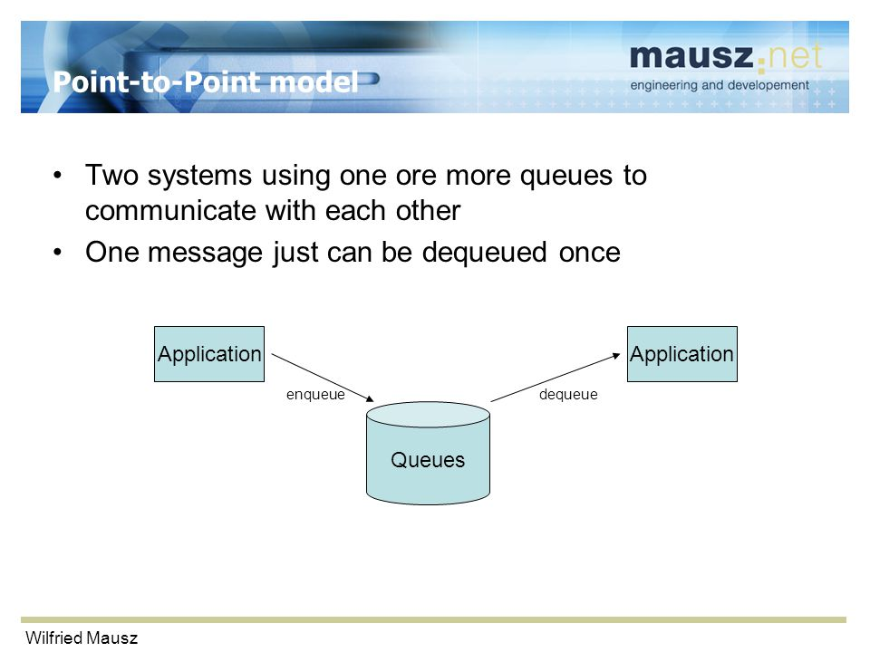 Wilfried Mausz Point-to-Point model Two systems using one ore more queues to communicate with each other One message just can be dequeued once Application Queues enqueuedequeue