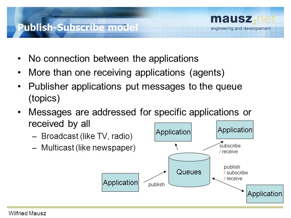 Wilfried Mausz Publish-Subscribe model No connection between the applications More than one receiving applications (agents) Publisher applications put messages to the queue (topics) Messages are addressed for specific applications or received by all –Broadcast (like TV, radio) –Multicast (like newspaper) Application Queues publish / subscribe / receive subscribe / receive