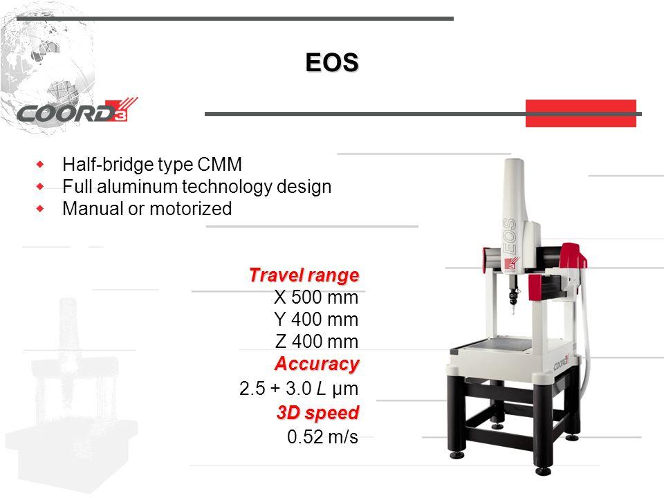 EOS  Half-bridge type CMM  Full aluminum technology design  Manual or motorized Travel range X 500 mm Y 400 mm Z 400 mm Accuracy Accuracy 2.5 + 3.0 L µm 3D speed 3D speed 0.52 m/s