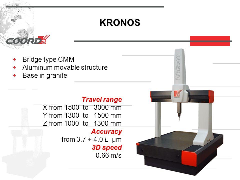 KRONOS  Bridge type CMM  Aluminum movable structure  Base in granite Travel range Travel range X from 1500 to 3000 mm Y from 1300 to 1500 mm Z from 1000 to 1300 mm Accuracy Accuracy from 3.7 + 4.0 L µm 3D speed 3D speed 0.66 m/s